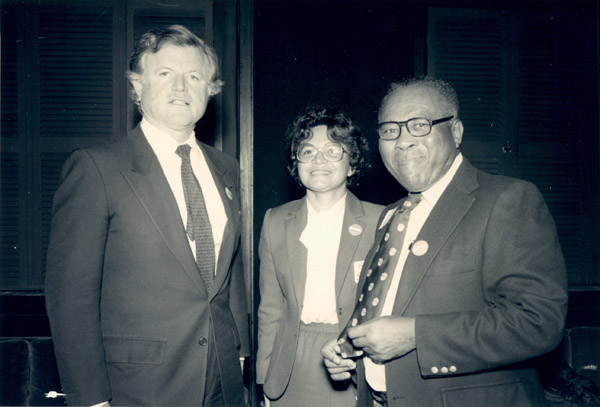 Gloria and Jim with Sen. Ted Kennedy